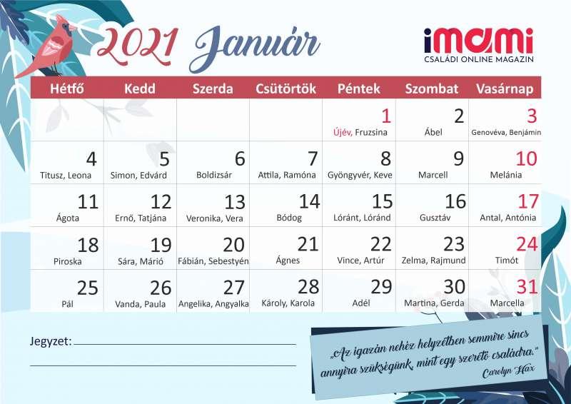 2021. január fogyás naptár