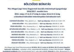 Bölcsődei beíratás 2016/2017. nevelési évre